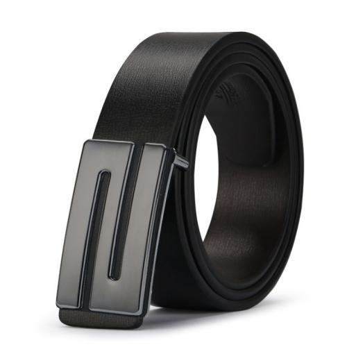 Men's Leather Belt Strap Smooth Buckle Vintage Belt, Belt Length:125cm(black Z plane)