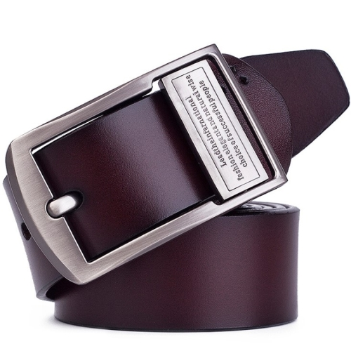 Men's Pin Buckle Leather Belt Pure Leather Pants Belt, Belt Length:110cm( brown)