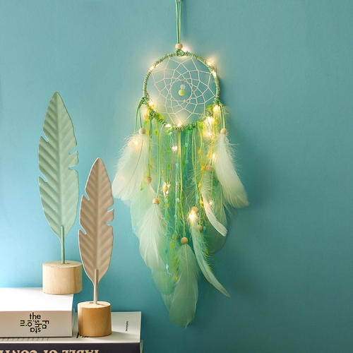 Creative Girl Birthday Gift Baby Room Wall Decoration LED Lights Dream Catcher, Specification:Lighted