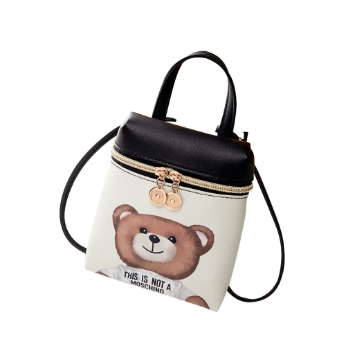 Women Cartoon Messenger Bags PU Leather Mini Female Shoulder Bag(teddy bear  )