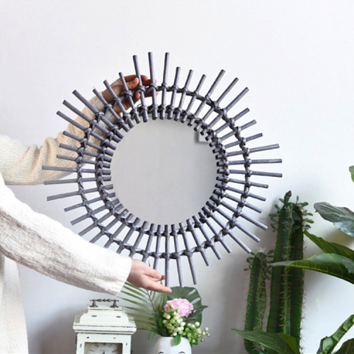 Creative Art Decoration Round Mirror Living Room Wall Hanging Mirror, Style:Rattan decorative mirror dark gray