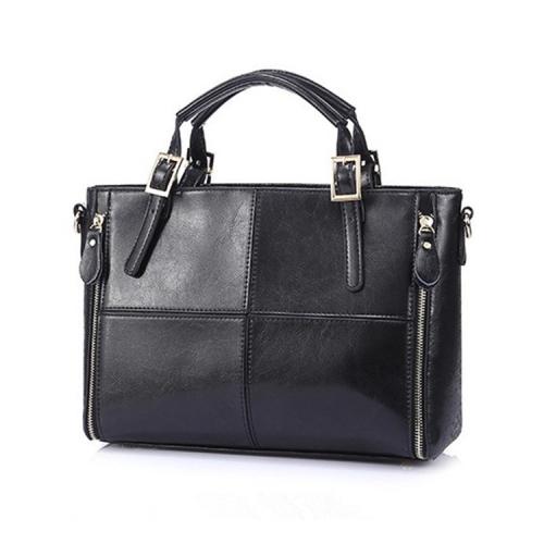 Luxury Handbags Women Bags Designer Split Leather Bags Women Handbag Brand Top-handle Bags Female Shoulder Bags(Black)