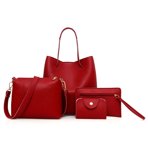 4 in1 Women Leather Handbag+Crossbody Bag+Messenger Bag+Card Package Capacity Crossbody Bag(red)