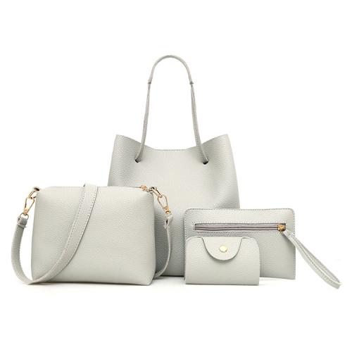4 in1 Women Leather Handbag+Crossbody Bag+Messenger Bag+Card Package Capacity Crossbody Bag(grey)