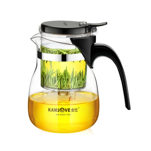 KAMJOVE Elegant Cup Teapot Heat-resistant Glass Tea Set, Style:TP-757 700ml