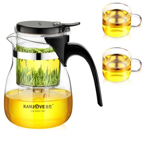 KAMJOVE Elegant Cup Teapot Heat-resistant Glass Tea Set, Style:TP-757 With 2 Single Cups
