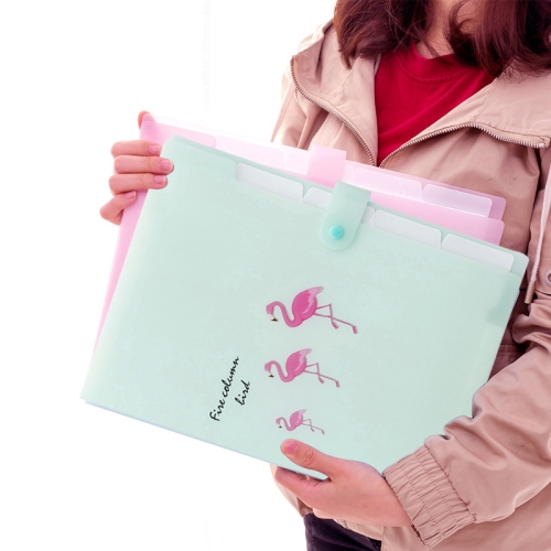 5 Layers Cute Cartoon Animal Bird Document Bag Storage Bag Expanding Wallet File Folder Organizer, Size:32.5x24cm(Light Green)