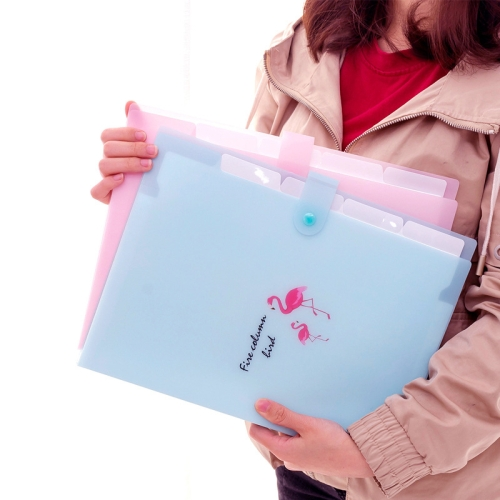 5 Layers Cute Cartoon Animal Bird Document Bag Storage Bag Expanding Wallet File Folder Organizer, Size:32.5x24cm(Sky Blue)