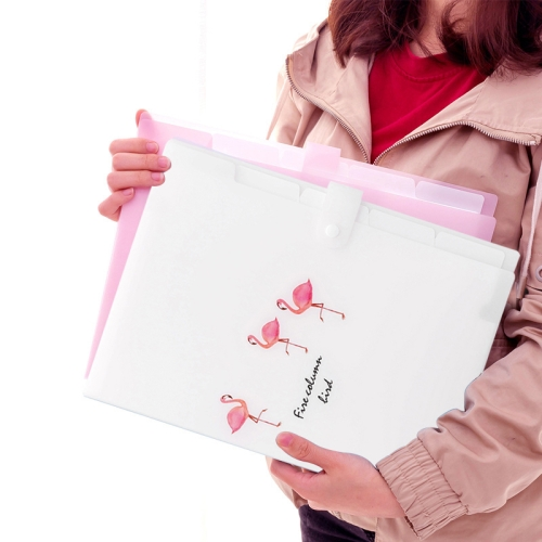 5 Layers Cute Cartoon Animal Bird Document Bag Storage Bag Expanding Wallet File Folder Organizer, Size:32.5x24cm(White)