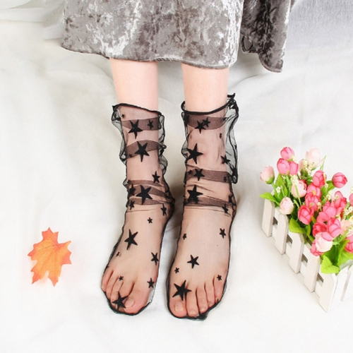 3 Pairs Lace Socks Fishnet Embroidered High Fish Women Net Socks Ankle Short Socks Ruffle Sexy(Star)