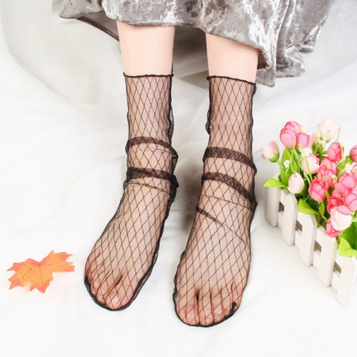 3 Pairs Lace Socks Fishnet Embroidered High Fish Women Net Socks Ankle Short Socks Ruffle Sexy(Lattice)
