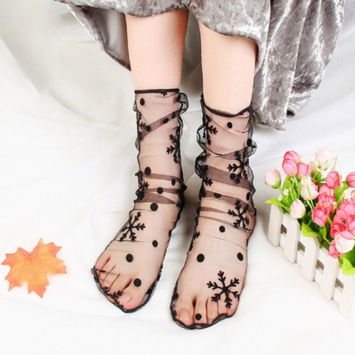 3 Pairs Lace Socks Fishnet Embroidered High Fish Women Net Socks Ankle Short Socks Ruffle Sexy(Snowflake)