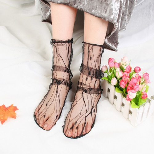3 Pairs Lace Socks Fishnet Embroidered High Fish Women Net Socks Ankle Short Socks Ruffle Sexy(Branch)