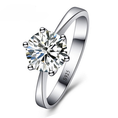 925 Sterling Silver Woman CZ Crystal Wedding Engagement Finger Rings Super Shinning Cubic Zirconia Fine Jewelry, Ring Size:6