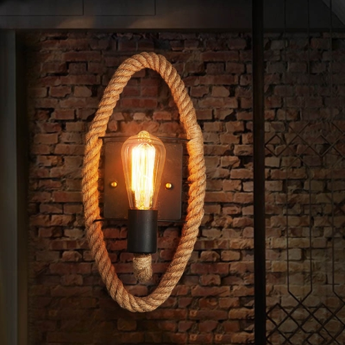 Vintage Hemp Rope Edison Light Bulb Wrought Iron Wall Lamp without Bulb(Oval)