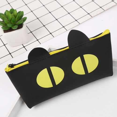 Simple Black Cat Pencil Case Student School Pencil Case Silicone Stationery Bag Cosmetic Bag Small Object Storage Bag(Yellow Eyes)