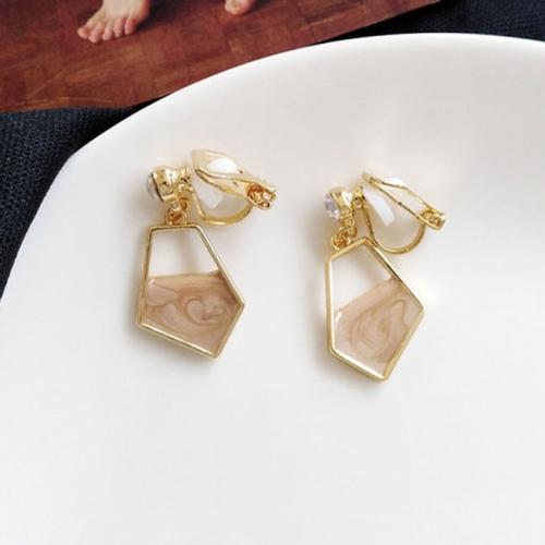 Fashion Crystal Earrings Female Simple Irregular Geometry Stud Earrings(Khaki Clip Earring)