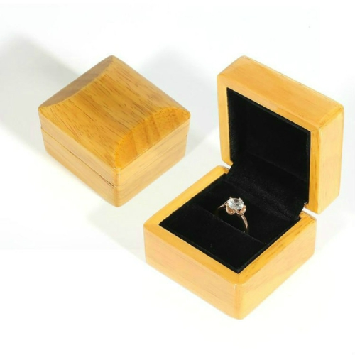 Wood Color Wooden Jewelry Packing Case Portable Wedding Ring Bracelet Pendant Display Box Gift Box, Type:Ring Box