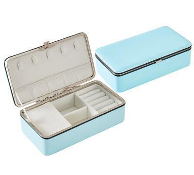 Portable Leather PU Earring Ring Organizer Women Jewelry Storage Display Box(Blue without Mirror)