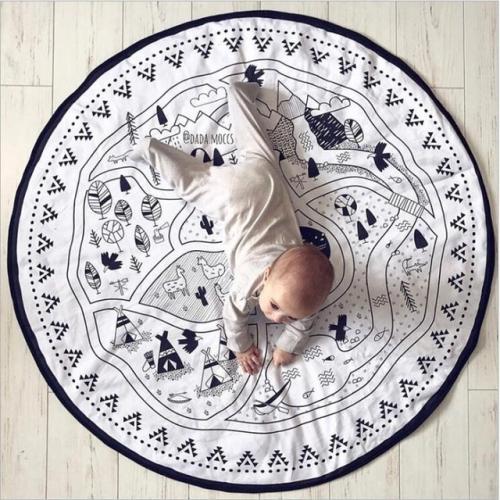 Cotton Canvas Children Room Decoration Game Mat(135cmx135cm)