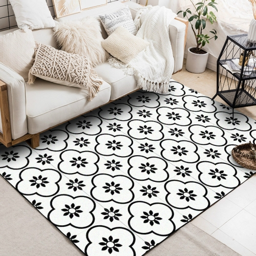 60x90cm Geometric Flower 3D Printed Carpets Living Room Bedroom Area Rugs Sofa Antiskid Mats, Color:Black White