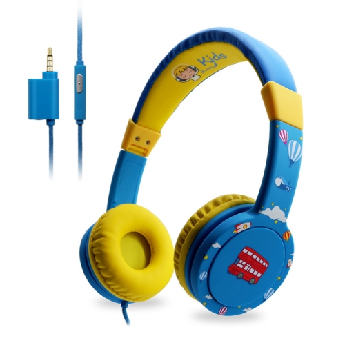 EasySMX Kids Headphones KM-669 Wired Kids Headphones with Mic In Line Control 85db Volume Limiting for Xiaomi iPhone Smartphone(Blue)