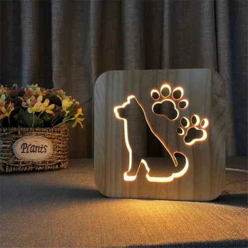 Creative Shape Wooden Night Lamp Bedroom Decoration Warm Light LED(Dog)