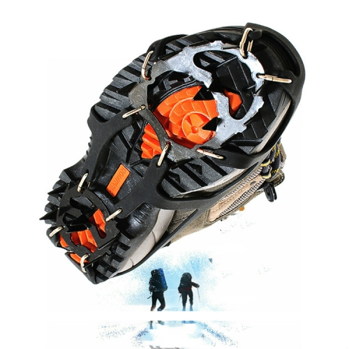 18 Teeth Silica Gel Steel Claw Ice Climbing on Foot Non-slip Mountaineering Foot Cover, One Pair(M (3742) )
