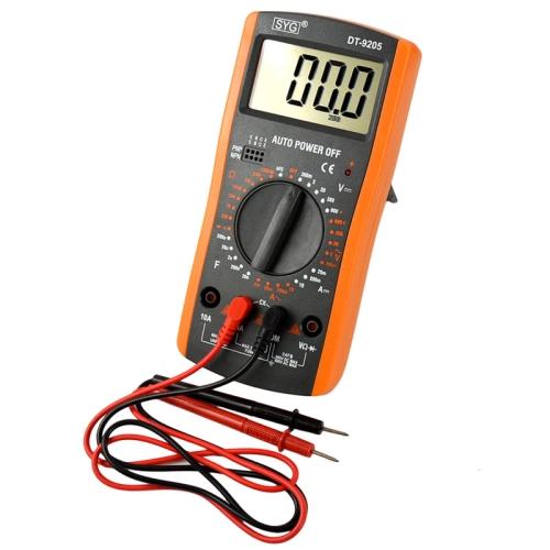 DT9205 Digital Multimeter High Precision Range Handheld Ammeter Voltmeter Resistance Capacitance AC / DC Tester