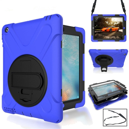 360 Degree Rotation Silicone Protective Cover with Holder and Hand Strap and Long Strap for iPad 5 / iPad Air(Blue) фото