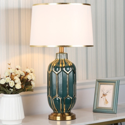 Fashion Minimalist Bedside Living Room Bedroom Decorative Table Lamp(Green Gold)