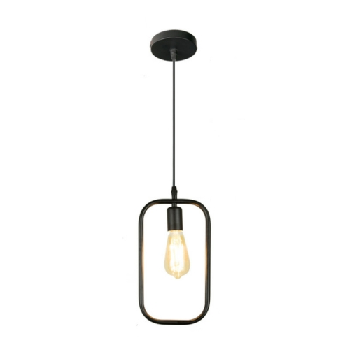 Simple and Creative Wrought Iron Geometric Chandelier Bar Exhibition Hall Clothing Store Restaurant Hotel Decorative Light without Light Bulb(Rectangle)