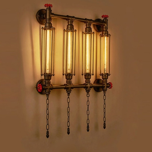Creative Personality Iron Art Retro Cafe Bedroom Restaurant Bar Counter Bar Attic Industry Water Pipe Wall Light, Specification:Four heads