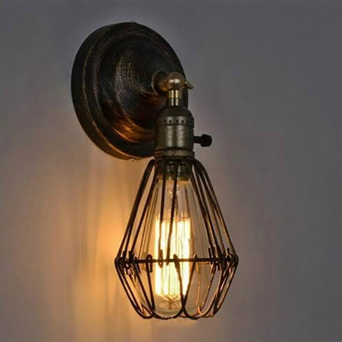 Vintage Wrought Small Iron Cage Attic Bar LED Wall Lamp(Bronze)