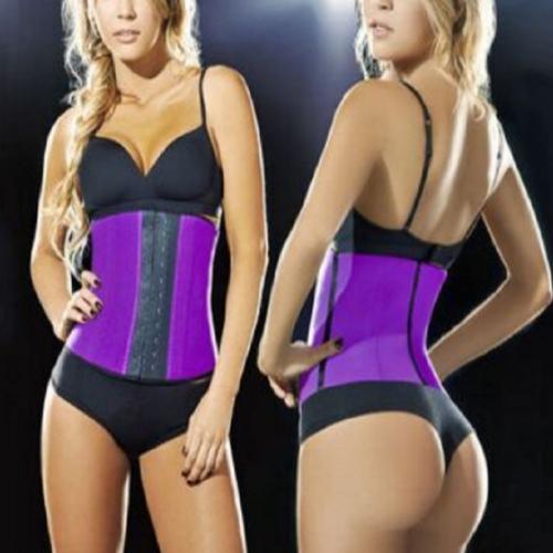 Lady Elastic Latex Steel Bone Buckle Toning Body Lifting Hips Slimming Waist Belt, Size: M(Purple)
