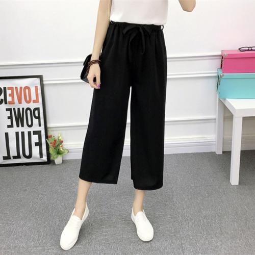 Sunsky Pantalones De Pierna Ancha Mujer Verano De Cintura Alta Pantalones Casuales Finos Para Mujer Tamano L Negro