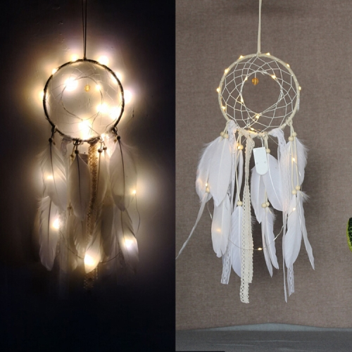 2 PCS Creative Lace Hand-woven Crafts Crystal White Dream catcher Home Car Wall Hanging Decoration