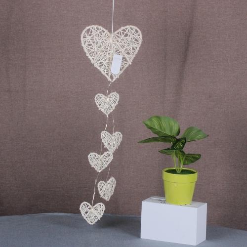 Creative Rattan Love Heart Bell Room Ornaments