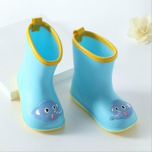 Rubber Children Cartoon Rainshoes Candy Color Rain Boots, Size:Inner Length 14.5cm(Blue Elephant)