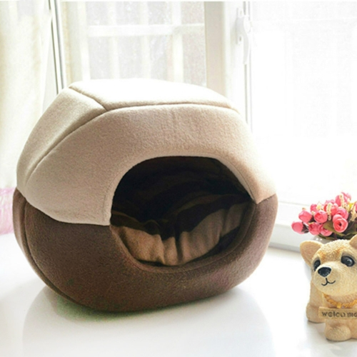 Autumn and Winter Warm Pet Nest Universal Removable Washable Pet Sleeping Bed, Size: L 50x40cm(Coffee)