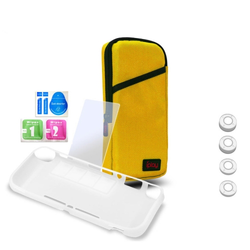 iplay Host Storage Bag Tempered Film + Rocker Cap + Protective Shell 7 in 1 Protection Bag Soft Bag Set For Switch Lite(Yellow )