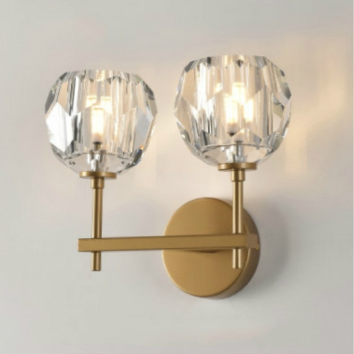 Wall Lamp Villa Hotel Wall Lamp Bedroom Bedside Crystal Wall Lamp, Power source: Without light source( Double Head Gold )
