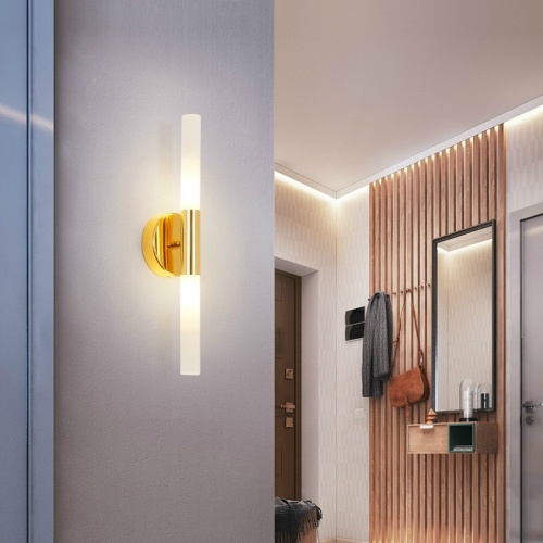 E27 LED Bedroom Bedside Background Wall Lamp Bathroom Mirror Headlights Without Light Source(Gold )