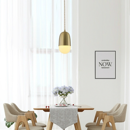 Single Head Modern Simple Restaurant Bar Studio Office Decorative Copper Lighting Chandelier without Light Source