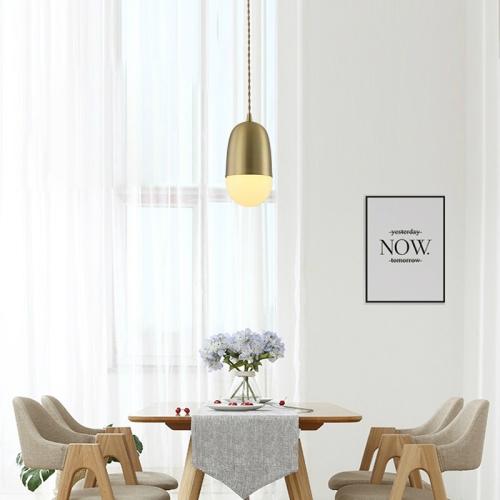 Single Head Modern Simple Restaurant Bar Studio Office Decorative Copper Lighting Chandelier with 5W Warm Light LED