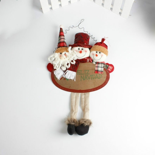 Sunsky Christmas Decorations Pendant Santa Snowman Fabric Doll Hanging Living Room Window Decoration Red Edge