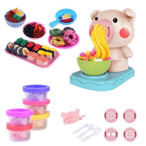Kids Kitchen Toy Set DIY Noodles Machine Toy Clay Dough Plasticine Ice Cream Machine Mould Play Kit, Random Color Delivery(5 Colors)