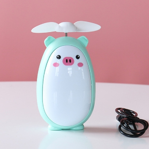 Office Learning Desktop Stereo Mini Cartoon USB Charging Portable Fan, Style:Pig(Blue)