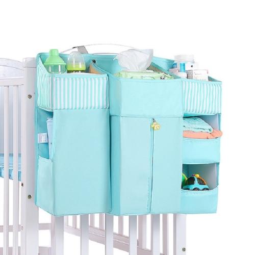 Multifunctional Crib Bed Storage Bag Baby Supplies Hanging Bag(Blue)