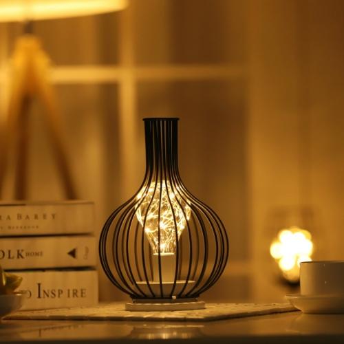 Retro Classic Iron Art LED Table Lamp Reading Lamp Night Light Bedroom Lamp Desk Lighting Home Decoration, Lampshade Style:Wake up Bottle